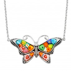 Sterling Silver 925 Rhodium Plated Butterfly Murano Glass CZ Necklace - MN00004