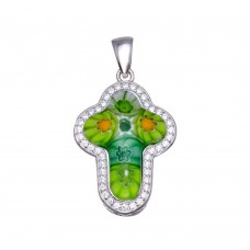 Sterling Silver 925 Rhodium Plated Green Murano Glass Cross CZ Pendant - MP00001GRN