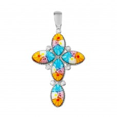 Sterling Silver 925 Rhodium Plated Cross Murano Glass With CZ Pendant - MP00003