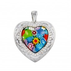 Sterling Silver 925 Rhodium Plated Heart Murano Glass With CZ Pendant - MP00004