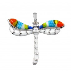 Sterling Silver 925 Rhodium Plated Glass Murano with White Enamel Dragonfly CZ Pendant - MP00005