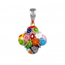 Sterling Silver 925 Rhodium Plated Glass Murano Flower Pendant - MP00006