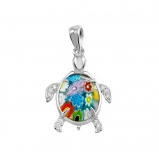 Sterling Silver 925 Rhodium Plated Glass Murano Turtle With CZ Pendant - MP00008