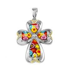 Sterling Silver 925 Rhodium Plated Murano Glass Flower Cross CZ Pendant - MP00009