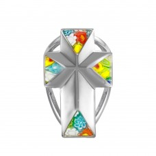 Sterling Silver 925 Rhodium Plated Large Cross Murano Glass Ring - MR00001