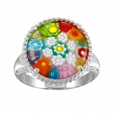 Sterling Silver 925 Rhodium Plated Murano Glass Beaded Design Ring - MR00002