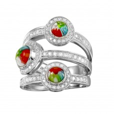 Sterling Silver 925 Rhodium Plated 3 Row 3 Round Murano Glass CZ Ring - MR00003