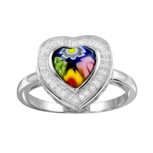 Sterling Silver 925 Rhodium Plated Heart Murano Glass Halo CZ Ring - MR00005