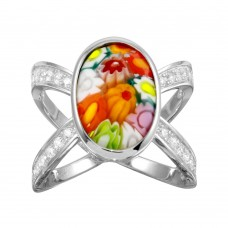 Sterling Silver 925 Rhodium Plated Open Shank Oval Shape Murano Glass CZ Ring - MR00006