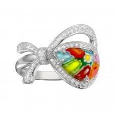 Sterling Silver 925 Rhodium Plated Open Heart Shape Ribbon Murano Glass CZ Ring - MR00007
