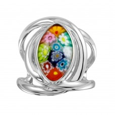 Sterling Silver 925 Rhodium Plated Open Shank Oval Shape Murano Glass Ring - MR00008