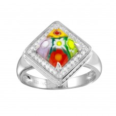Sterling Silver 925 Rhodium Plated Square Halo CZ Murano Glass Ring - MR00009