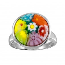Sterling Silver 925 Rhodium Plated Disc Murano Glass Ring - MR00010