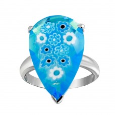 Sterling Silver 925 Rhodium Plated Blue Teardrop Murano Glass Ring - MR00010