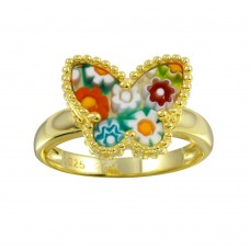 Sterling Silver 925 Gold Plated Butterfly Murano Glass Beaded Design Ring - MR00012