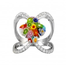 Sterling Silver 925 Rhodium Plated Open Shank Flower Shape Murano Glass CZ Ring - MR00013