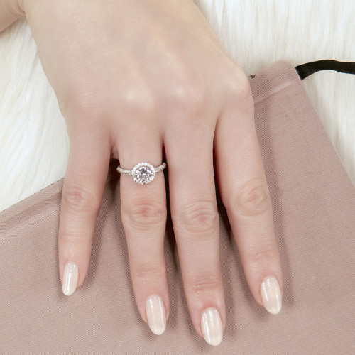 Wholesale Sterling Silver 925 Rhodium Plated Halo CZ Bridal Ring - STR01110