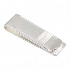 Sterling Silver Rhodium Plated Money Clip with Matte Bar - MONEYCLIP10