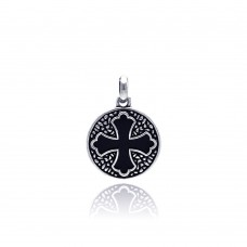 Wholesale Sterling Silver 925 Oxidized Disc Black Stone Cross Patonce Pendant - OXP00002