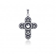 Wholesale Sterling Silver 925 Oxidized Outline Cross Pendant - OXP00010