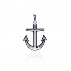 Wholesale Sterling Silver 925 Oxidized Anchor Pendant - OXP00018