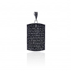 Wholesale Sterling Silver 925 Oxidized Lord Prayer Tag Pendant - OXP00020