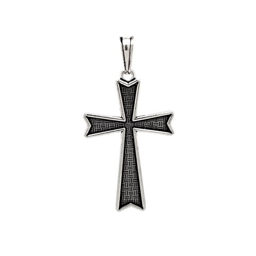 Wholesale Sterling Silver 925 Oxidized Textured Cross Pendant - OXP00025