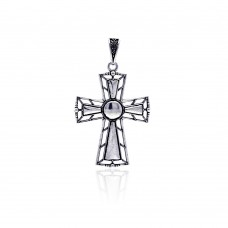 Wholesale Sterling Silver 925 Oxidized Outline Cross Pendant - OXP00031
