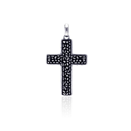 Wholesale Sterling Silver 925 Oxidized Textured Cross Pendant - OXP00032