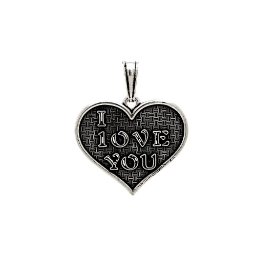 Wholesale Sterling Silver 925 Oxidized I LOVE YOU Heart Pendant - OXP00045
