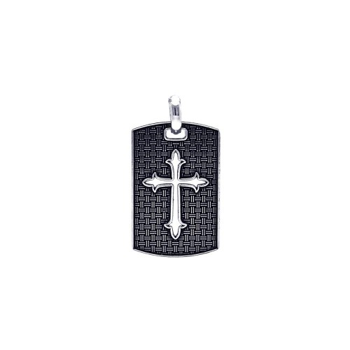 Wholesale Sterling Silver 925 Oxidized Textured Cross Dogtag Pendant - OXP00046