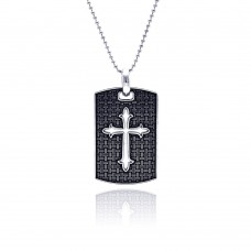 Wholesale Sterling Silver 925 Oxidized Textured Religious Tag - OXP00011
