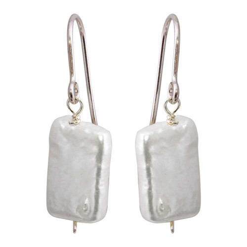 Wholesale Sterling Silver 925 Rhodium Plated Fish Hook Square Dangling Pearl Earrings - PJE00004