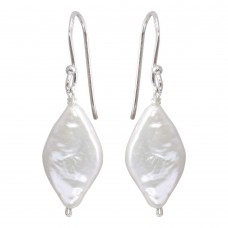 Wholesale Sterling Silver 925 Rhodium Plated Fish Hook Diamond Shape Dangling Pearl Earrings - PJE00007