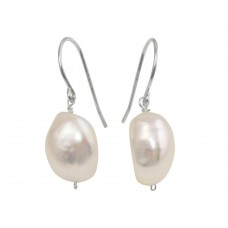 Wholesale Sterling Silver 925 Rhodium Plated Synthetic Pearl Earrings - PJE00005