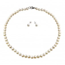 Wholesale Fresh Water White Pearl Necklace and Earrings Set  - PJS00004