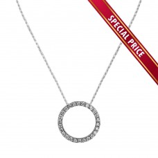 **Special Price** Wholesale Sterling Silver 925 Clear CZ Rhodium Plated Open Circle Necklace 20mm - SPR00001