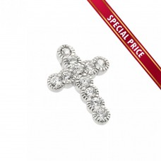 **Special Price** Wholesale Sterling Silver 925 Rhodium Plated Clear CZ Cross Pendant - STP01115