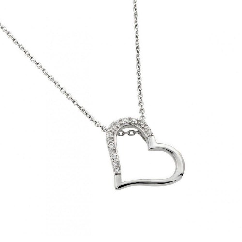 Wholesale Sterling Silver 925 Rhodium Plated Clear CZ Slanted Heart Pendant Necklace - STP01432