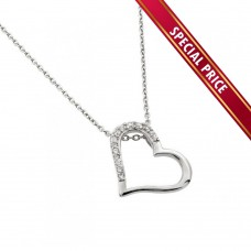 **Special Price** Wholesale Sterling Silver 925 Rhodium Plated Clear CZ Slanted Heart Pendant Necklace - STP01432
