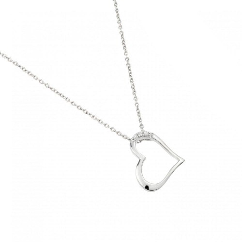 Wholesale Sterling Silver 925 Rhodium Plated Sideways Heart Pendant Necklace - STP01456