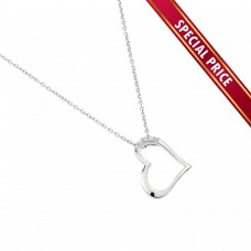 **Special Price** Wholesale Sterling Silver 925 Rhodium Plated Sideways Heart Pendant Necklace - STP01456