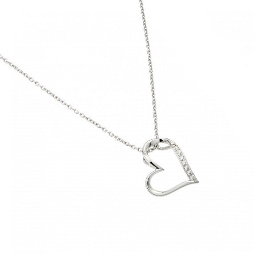 Wholesale Sterling Silver 925 Rhodium Plated Slanted Heart Pendant Necklace - STP01457
