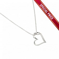 **Special Price**Wholesale Sterling Silver 925 Rhodium Plated Slanted Heart Pendant Necklace - STP01457