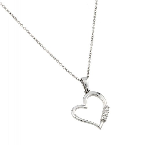 Wholesale Sterling Silver 925 Rhodium Plated Heart CZ Pendant - STP01464