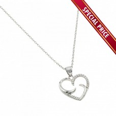 **Special Price** Wholesale Sterling Silver 925 Rhodium Plated Twirl Heart CZ Pendant - STP01465