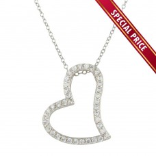 **Special Price** Wholesale Sterling Silver 925 Rhodium Plated Crooked Heart Necklace with CZ - STP01498