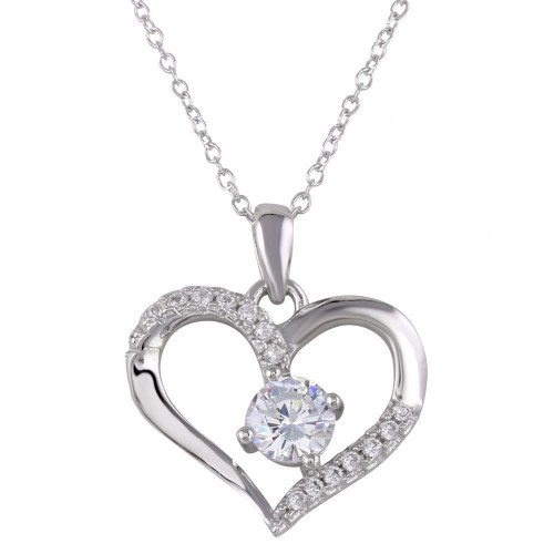 Wholesale Sterling Silver 925 Rhodium Plated Open Heart Pendant Necklace - STP01553