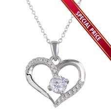 **Special Price** Wholesale Sterling Silver 925 Rhodium Plated Open Heart Pendant Necklace - STP01553