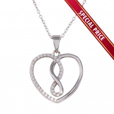 **Special Price** Wholesale Sterling Silver 925 Rhodium Plated Open Heart Infinity Pendant Necklace with CZ - STP01554